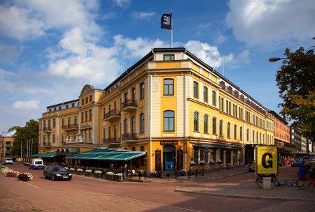 karlstad: September 11, 2012 - Karlstad, Sweden: Elite  Hotels Stadshotellet, with Bishop Arms pub, exterior. The hotel was opened in 1870.
