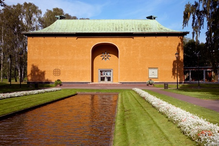 karlstad: Karlstad, Sweden - September 11, 2012: V?lands Museum with the older temple-like building from 1928 designed by architect Cyril Johansson with a pond and parts of the park in the foreground.