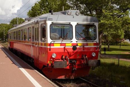 Mora, Sweden - June 7, 2012: Inlandsbanans railcar type Y1 number 1269 at station Mora Strand, Sweden.