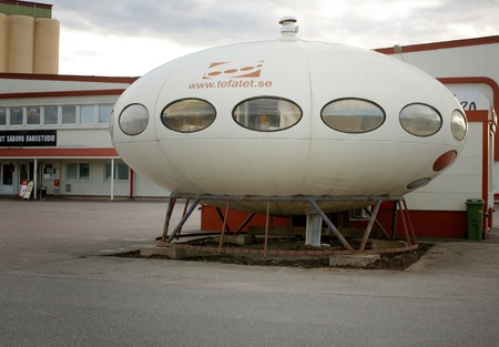 September 7, 2012: Orebro, Sweden: A Futuro designed by Finnish architect Matti Suuronen and made of fiberglass and polyester. House type manufactured by the Finnish company Polykem, during the years 1968 - 1974.