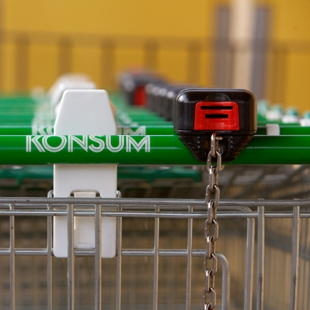 Trosa, Sweden - September 15, 2012: Shopping carts lined up in a row ready for customers, at the Konsum store in Trosa.