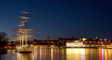 Stockholm, Sweden - November 9, 2012: The sail ship af Chapman in dawn light at Skeppsholmen.