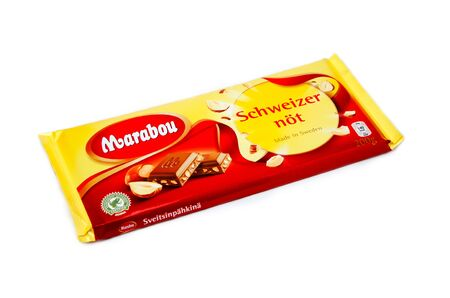 Sweden - November 16, 2012: A pack of Schwezernot with 200 g of milk chocolate candy bar made by Marabou.