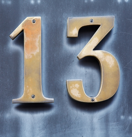 thirteen: The numbers one and three forms thirteen    Stock Photo