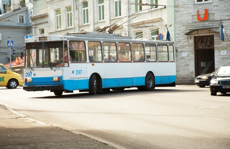 Tallinn, Estonia - May 23, 2008: A trolley bus turns into the street. Editorial