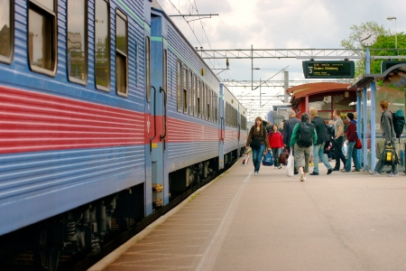 Passenger train at the station in Arboga, Sweden, have exchanged passengers.