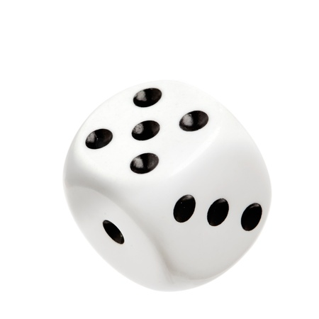 A cast white dice isolated on white background.   photo