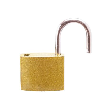 A golden padlock with open bar, on white background.   photo