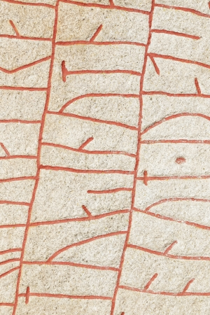 Close up of the runes on the Rok runestone  Rökstenen  at Rok church in Sweden  Carved early 800 Stock Photo