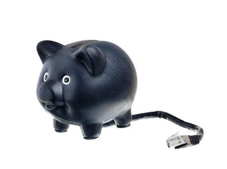 An Internet bank in the form of a piggy bank with a network cable on white background, showing the modern banking business with self-service. photo