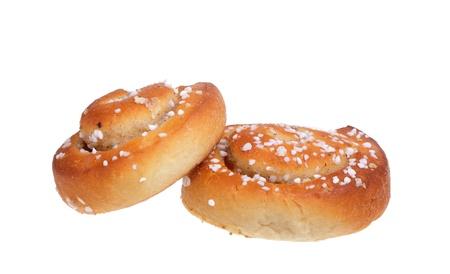 Two cinnamon buns white background.