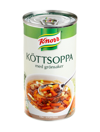 knorr: Stockholm, Sweden - September 28, 2013  Caned Knorr meat soup with vegetables for the Swedish market, isolated on white background  Editorial