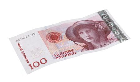 Norwegian 100 kroner bill isolated on white  Stock Photo