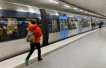 Subway train at station Radmansgatan StockholmSweden