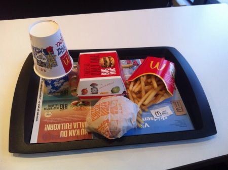 mcdonalds: Fast food lunch at McDonalds in Sweden milk hamurgers and fries