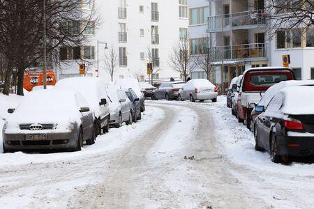 Winter at a suburban street in Skarholmen Stockholm Sweden.