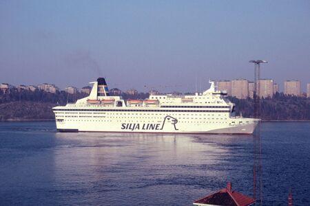 regina: Stockholm, Sweden - ca 1988: ms Silvia Regina wirh destination Helsinki departs from Stockholm.
