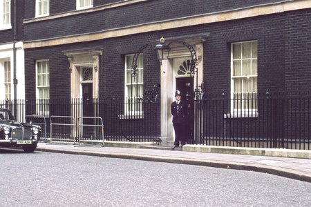10 Downing street, London, UK, April 1979: The office and home of the Brittish prime minister. Stock Photo