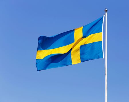 the swedish flag: Swedish flag on blue sky