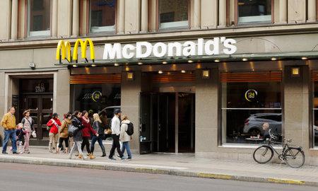 Stockholm, Sweden - April 30, 2014  Fast food restaurant McDonald at Kungsgatan