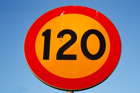 Swedish speed limit 120 km h road sign isolated