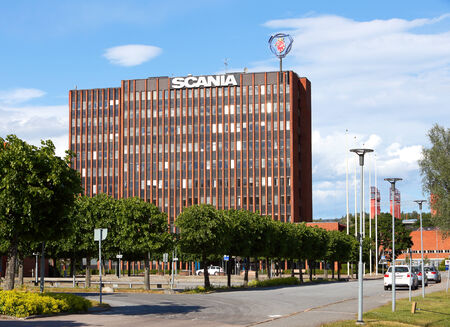 manufactor: Sodertalje, Sweden - June 15, 2014  The Scania AB head quarters office building located at the production site in Sodertalje  Scania develops, manufactures trucks and buses worldwide  Editorial