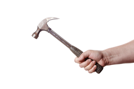 detai: One hand holding a carpenters claw hammer isolated on white background. Stock Photo