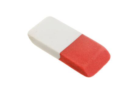 Red and white eraser isolated on white background.