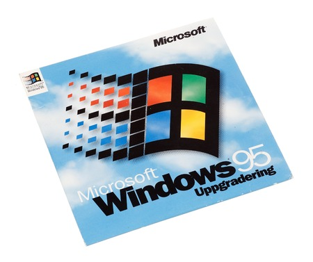 operating system: Stockholm, Sweden - December 15, 2014:  Microsoft Windows 95 operating system cover for the Swedish version, isolated on white background.