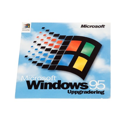 microsoft: Stockholm, Sweden - December 15, 2014:  Microsoft Windows 95 operating system cover for the Swedish version, isolated on white background.