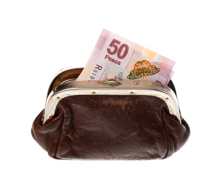 pesos: One fifty Mexican pesos banknote in a brown purse isolated on white background. Stock Photo