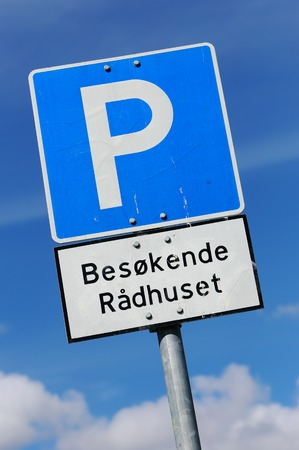 Parking lot for visitor at a Norwegian town hall.