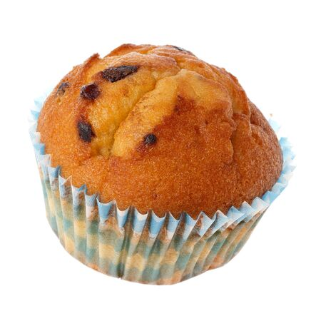 blueberry muffin: One blueberry muffin isolated on white background.