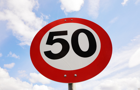 trafic: Norwegian speed limit 50 road sign.