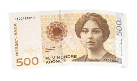 denomination: One Norwegian 500 korner banknote isolated on white.