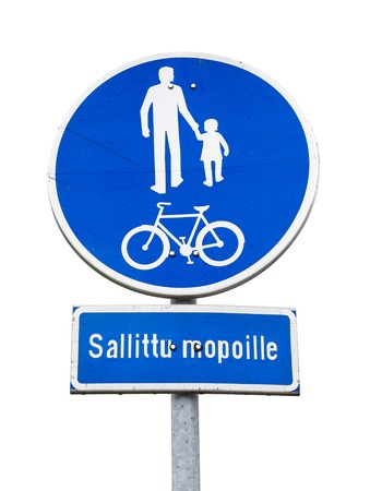 compulsory: Finnish road sign indicating a compulsory track for pedestrians and cyclists with additional sign stating that mopeds are allowed to use the cycle track.