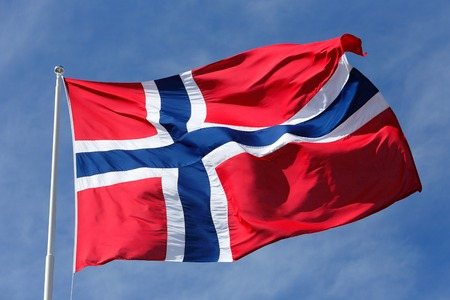 Close-up of the Norwegian flag. Stock Photo