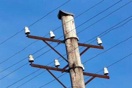 telephone pole: Close-up of a telephone pole