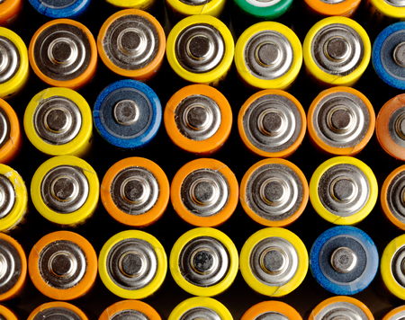 volts: Close view of batteries alkaline 1.5 Volts in size AA