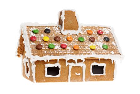 whitebackground: One gingerbread house isolated on whitebackground.