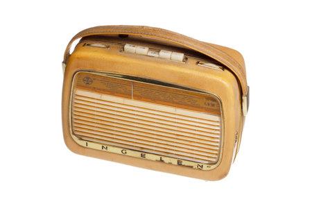 transistor: Stockholm, Sweden - December 21, 2015: Portable broadcasts receiver, transistor radio, INGELEN TRV 1001 UKW produced by Ingelen, Elektrotechnische Fabrik Ing. Ludwig Neumann GmbH; Wien during the 1960s.