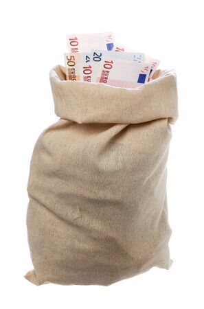 full filled: One jute sack filled with Euros isolated on white.