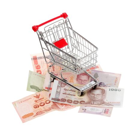 denomination: Shopping cart on assorted denomination of the Thai currency baht isolated on white.