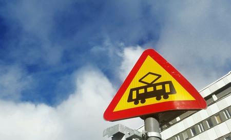 trams: Swedish road sign beware of trams