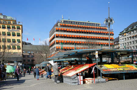 fruit trade: Stockholm, Sweden - March 24, 2016: Ongoing vegetable and fruit trade on the market square  Hotorget Editorial