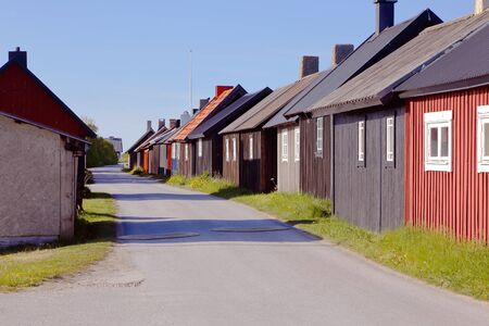 fishing huts: Fishing huts in fishing village Gnisvard in the Swedish province of Gotland. Stock Photo