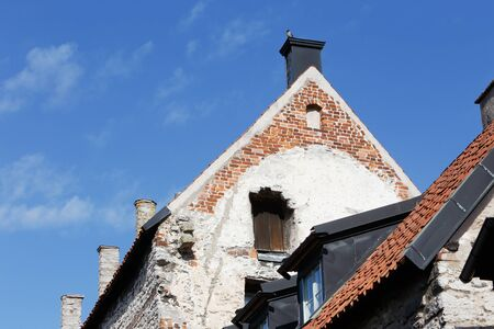 gables: Close-up of gables on old houses in Visby in the Swedish province of Gotland.