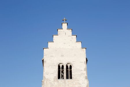 stepped: Close-up of the stepped gable at the church tower for the Vasterhejde church in the Swedish province of Gotland.