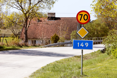 70: Road section of County Road 149 in Gotland, Sweden, speed limited to 70 km  h.