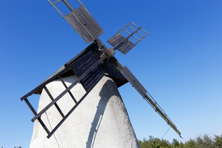 Close-ip of a windmill on the isle Faro in the Swedish province of Gotland. Stock Photo